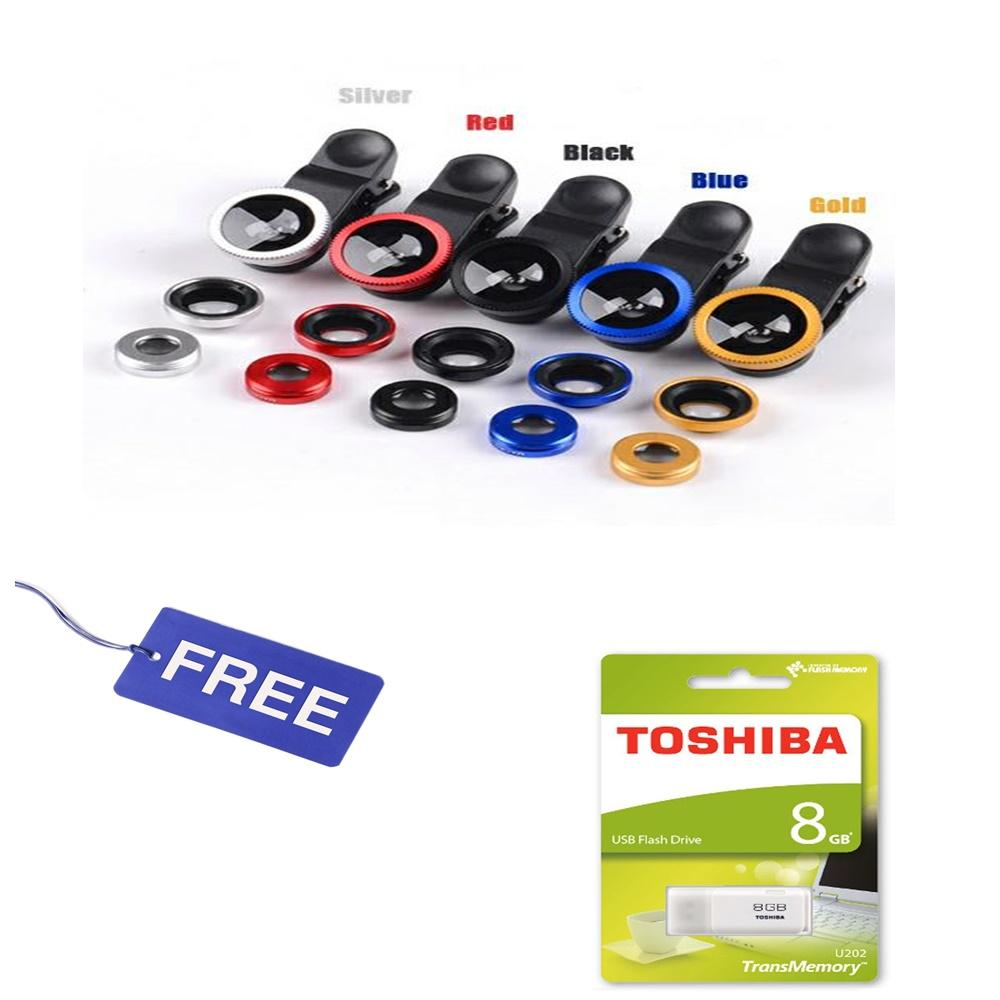 Fisheye 3in1 Jepit 3 Lensa Universal Wide Macro COMBO DIPAKAI Tongsis fish eye FREE flashdisk toshiba 8gb