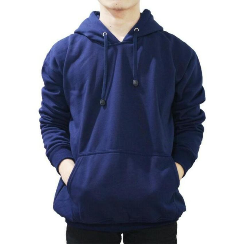 Azzalea Jaya Shop-Jaket Switer Zipper Korean Hoodie Pria - Wanita Oblong Navy