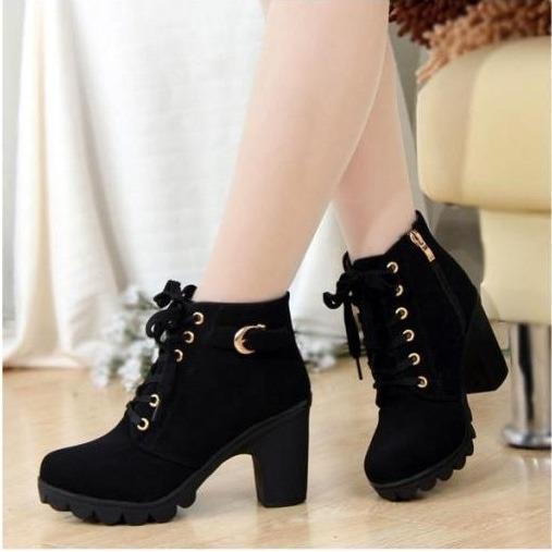 Sepatuafa- High Heels Sepatu Boots Tali Mm18 Hitam