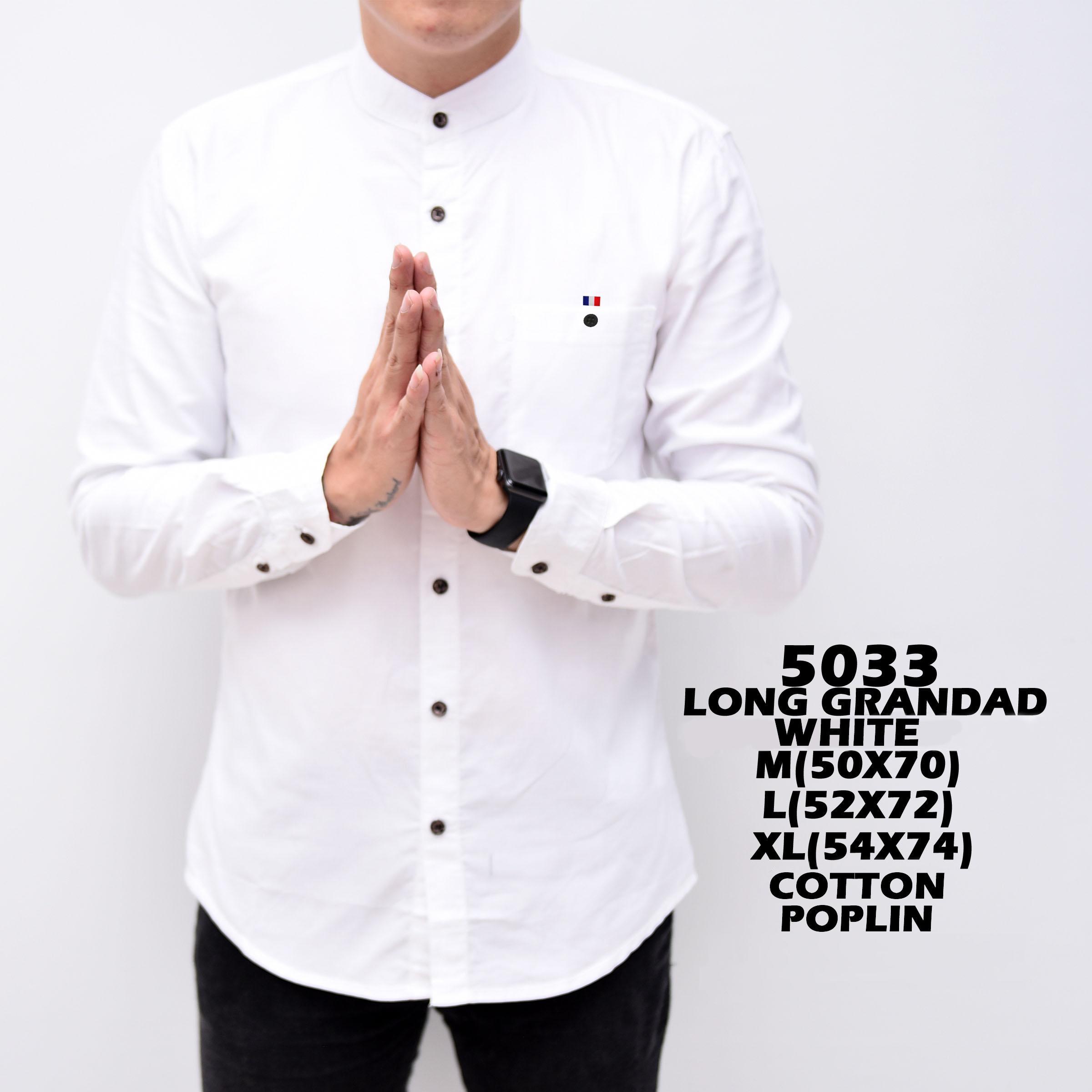 Baju Hem Kemeja Pria Cowok Lengan Panjang Kerah Shanghay Slimfit White Simple Putih Polos Distro Gr