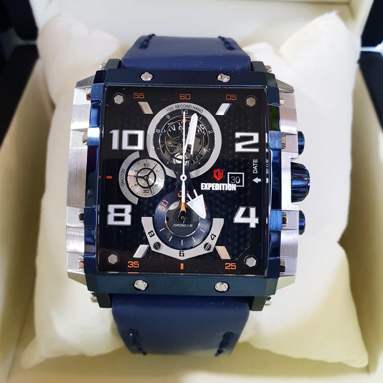 Jam Tangan Expedition Terbaru E 6381silver Black Original E6757m Pria Stainless Leather