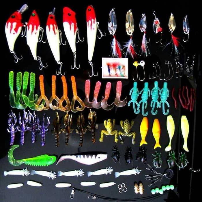 HARGA SPESIAL!!! 1 set umpan pancing fishing lure bait 100 buah dan kotak organizernya - B1U5u3
