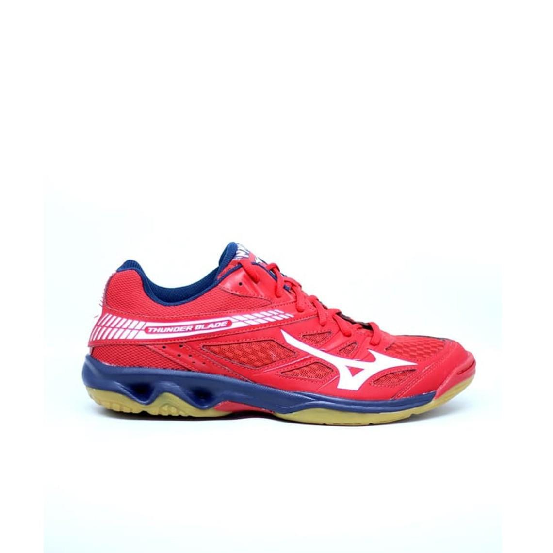 Sepatu voli Mizuno V1GA177007 THUNDER BLADE - MARS RED WHITE DRESS BLUES