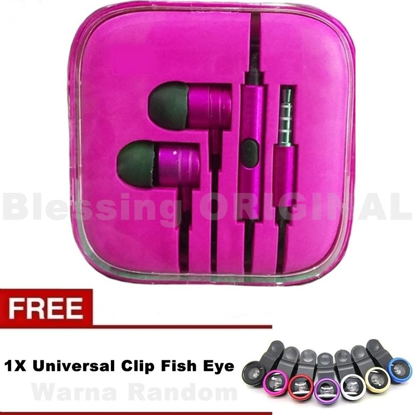 Headset blessing BO-P2 hensfree compatible for hp xiaomi headset piston 2 henset for android  - Warna Random + Free Universal Clip Fish Eye