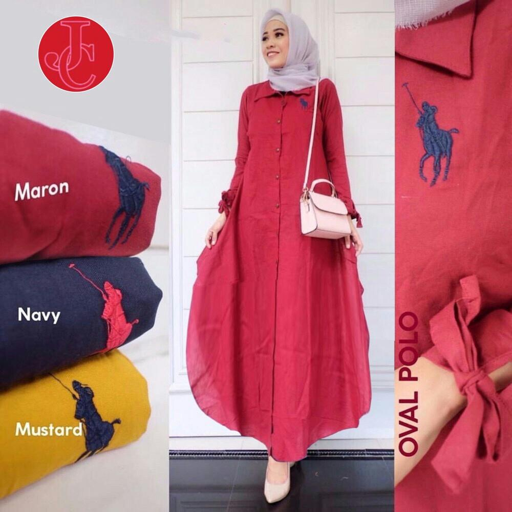 J&C Dress Maxi Oval Polo Bordir / Dress Maxi / Maxi Muslim / Maxi Dress / Dress Muslim / Busana Muslim / Dress Katun / Baju Muslim / Baju Gamis Wanita / Setelan Muslim / Hijab Fashion / Hijab Style