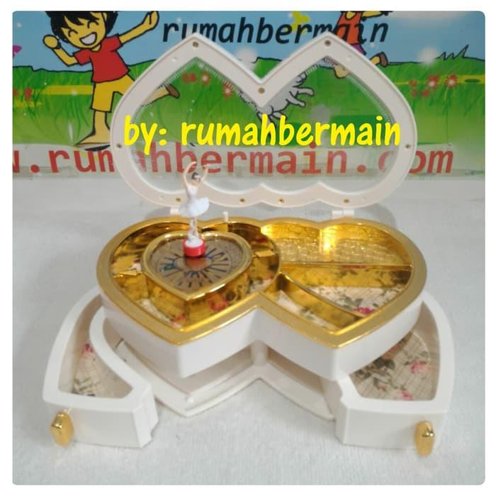 Kotak Musik Cantik Double Love Ballerina Putih Music Box Pajangan Kado - ready