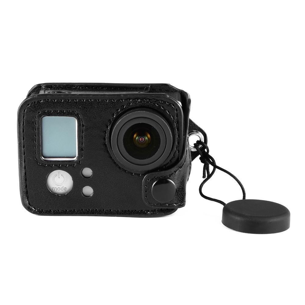 Amkov Protective Leather Case Soft Bag Black w/ Lens Cap for GoPro Hero 4 LF762