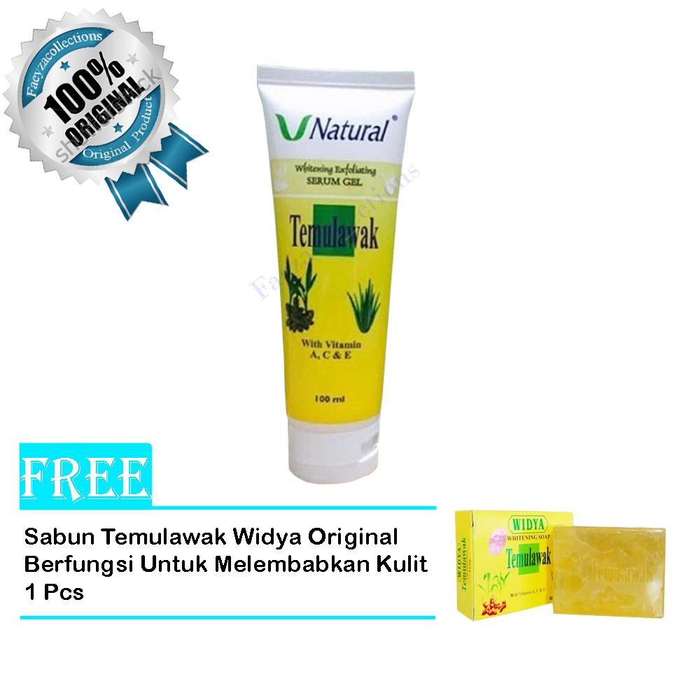 Serum Gel V Natural Whitening Exfoliating Original Bpom - Free Temulawak Widya Whitening Soap