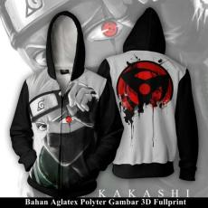 Jaket Hoodie Zipper Anime Naruto Style Hatake Kakashi & Uchiha Itachi FULL PRINT Best Seller