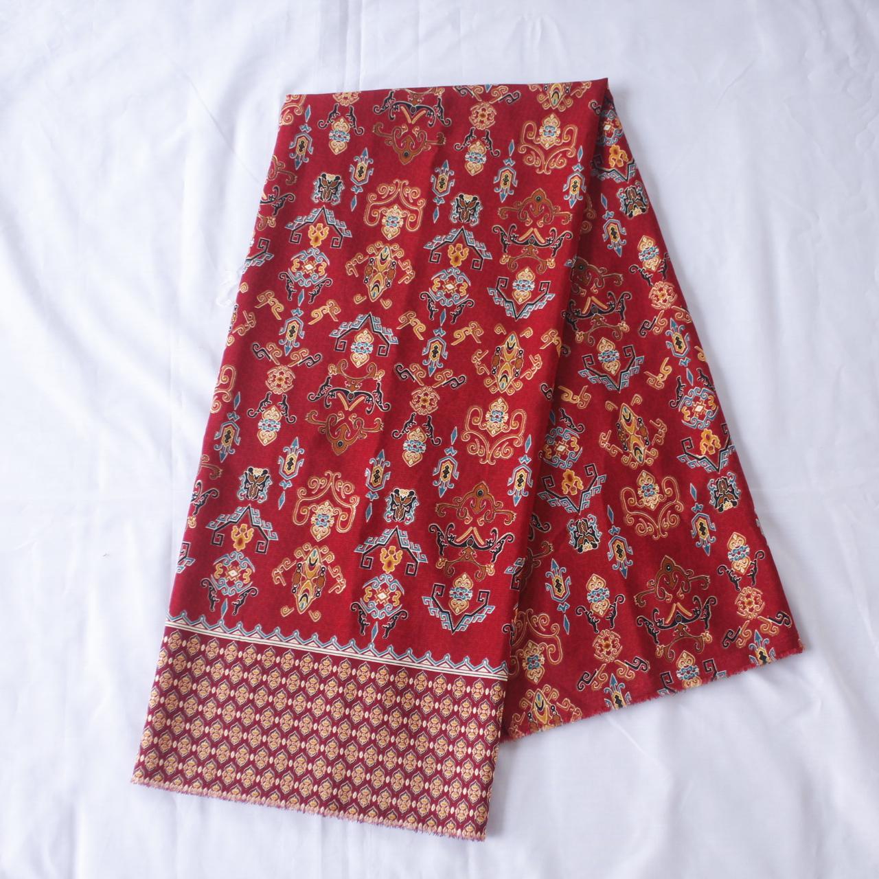 KBS024 Kain Batik Meteran Semi Sutra Bawahan Kebaya Modern Bahan