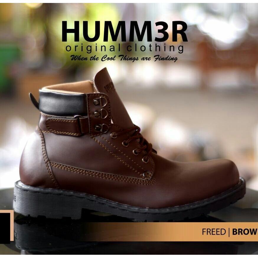 Sepatu Boots High Semi Formal Casual Pria - HUMM3R FRED - Hitam / Coklat / Marun / Tan