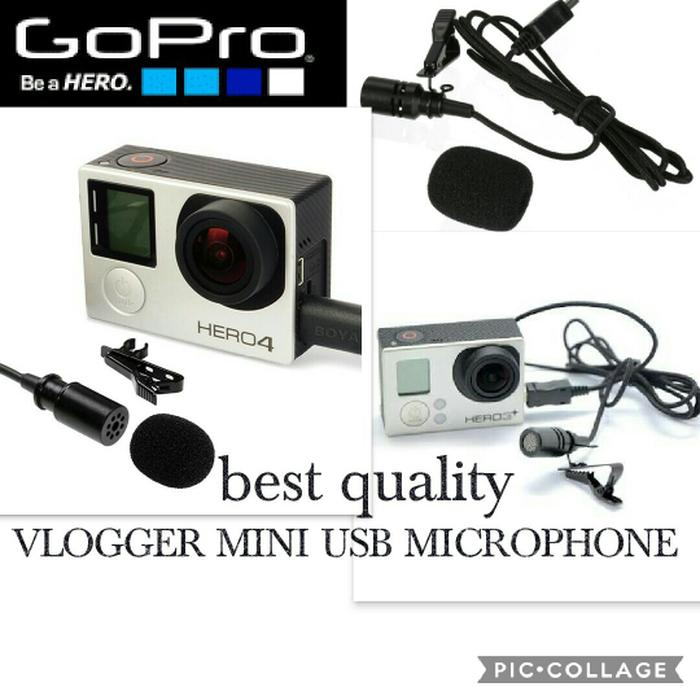 mini vlog external microphone for gopro hero 3+ and hero 4 jack mini usb