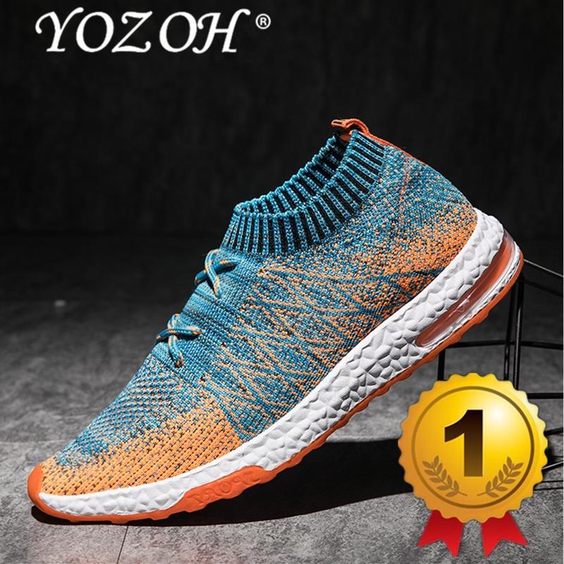 YOZOH Menjalankan Sepatu For Pria Mesh Bernapas Olahraga Sepatu Pria Tinggi Meningkatkan Sneakers Pria English