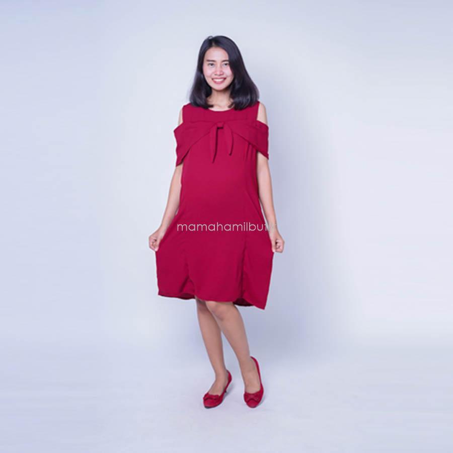 Ning Ayu Baju Hamil Dress Motif Layer Dasi Simpul - DRO 903 / Dress Hamil Pesta / Dress Hamil Lucu / Dress Hamil Kantor / Dress Hamil Muslim / Dress Hamil Batik / Dress Hamil Modis / Dress Hamil Korea / Dress Hamil Online / Dress Hamil cantik dan Modis