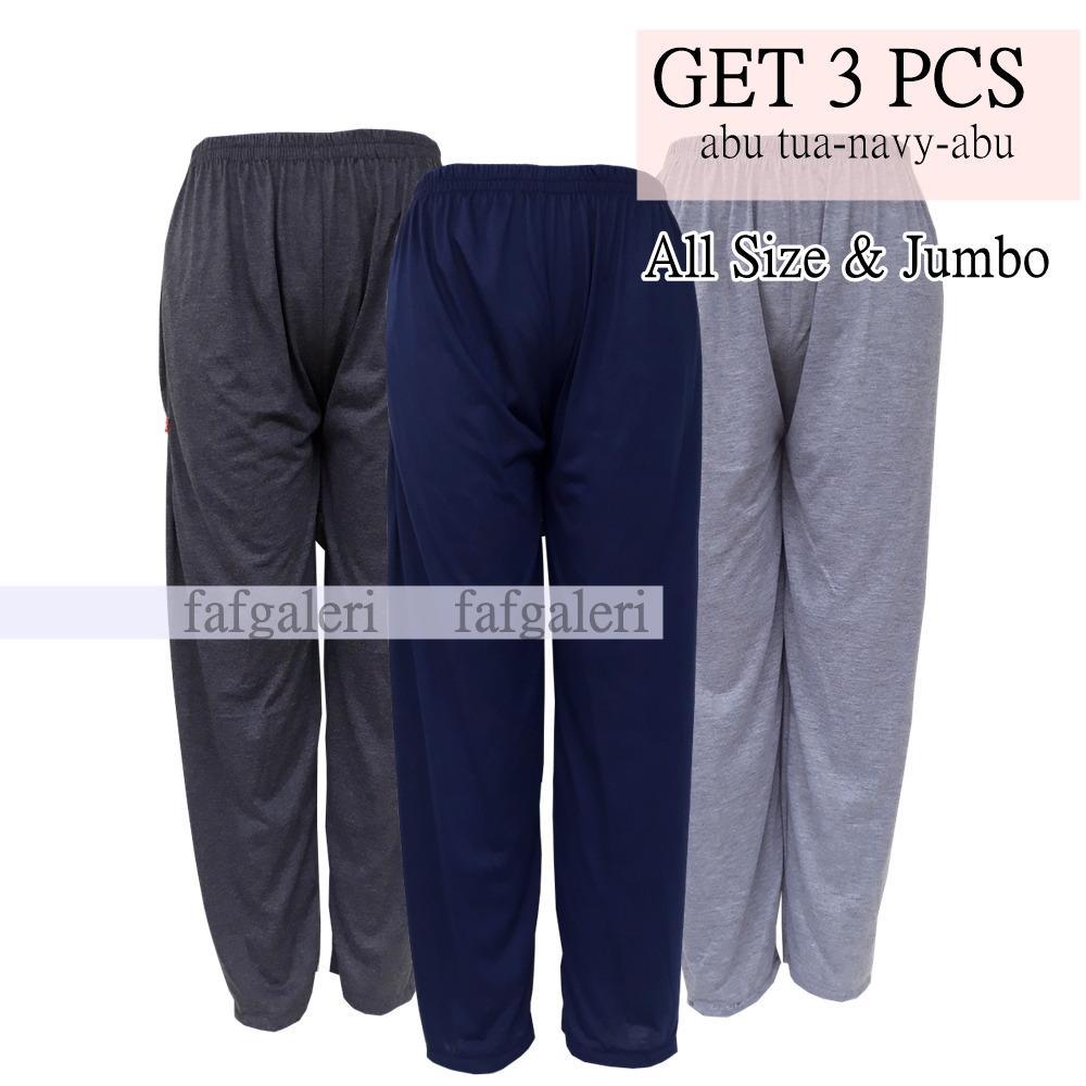 3Pcs Celana Panjang Dalaman Gamis Celana Santai Model Los - Abu tua Navy Abu