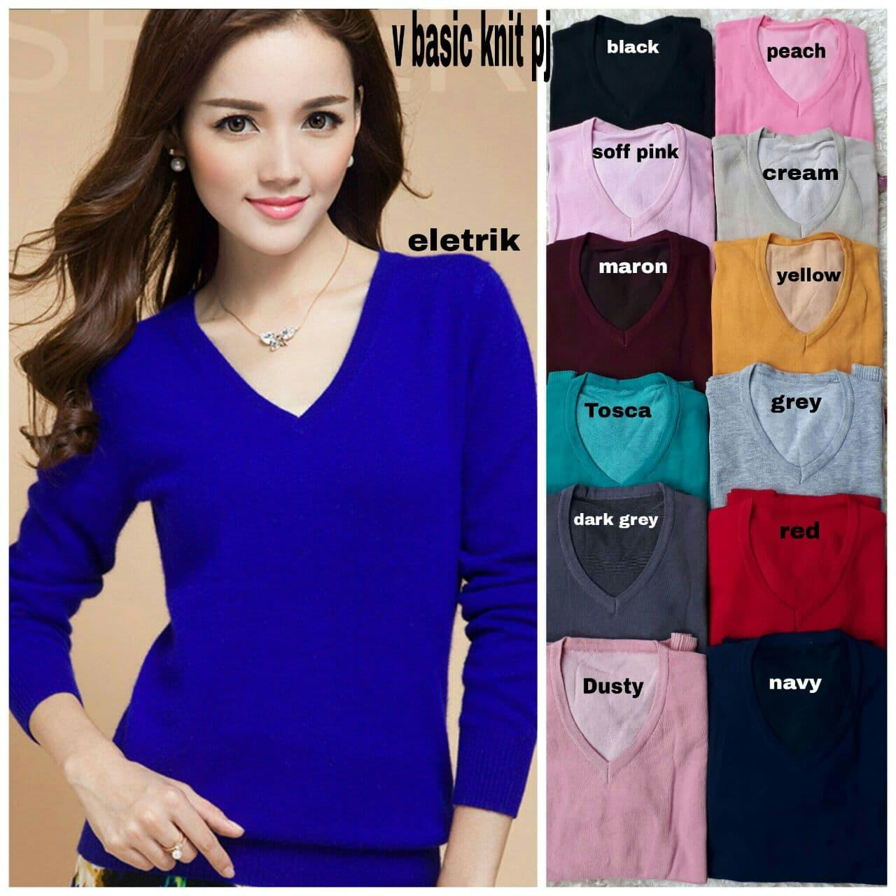 PROMO!!! [V basic knit pj RO] blouse wanita spandex var color TERMURAH KEMEJA / HIJAB / KAOS / PASHMINA / MUKENA / SYARI