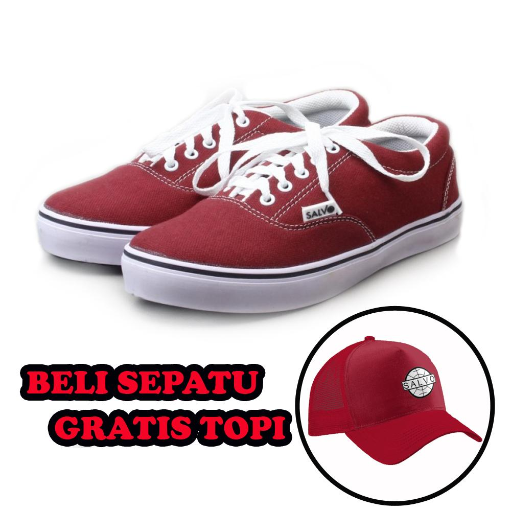 Jual Salvo Fashion Pria Sepatu Flat Shoes Flatshoes Kasual Denim Coklat