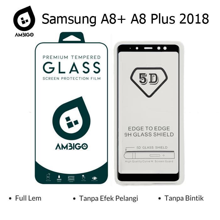 Gerai Acc Ambigo Tempered Glass 5D Full Cover Warna / Anti Gores Kaca Full Lem For Samsung A8+ A8 Plus 2018  - Black