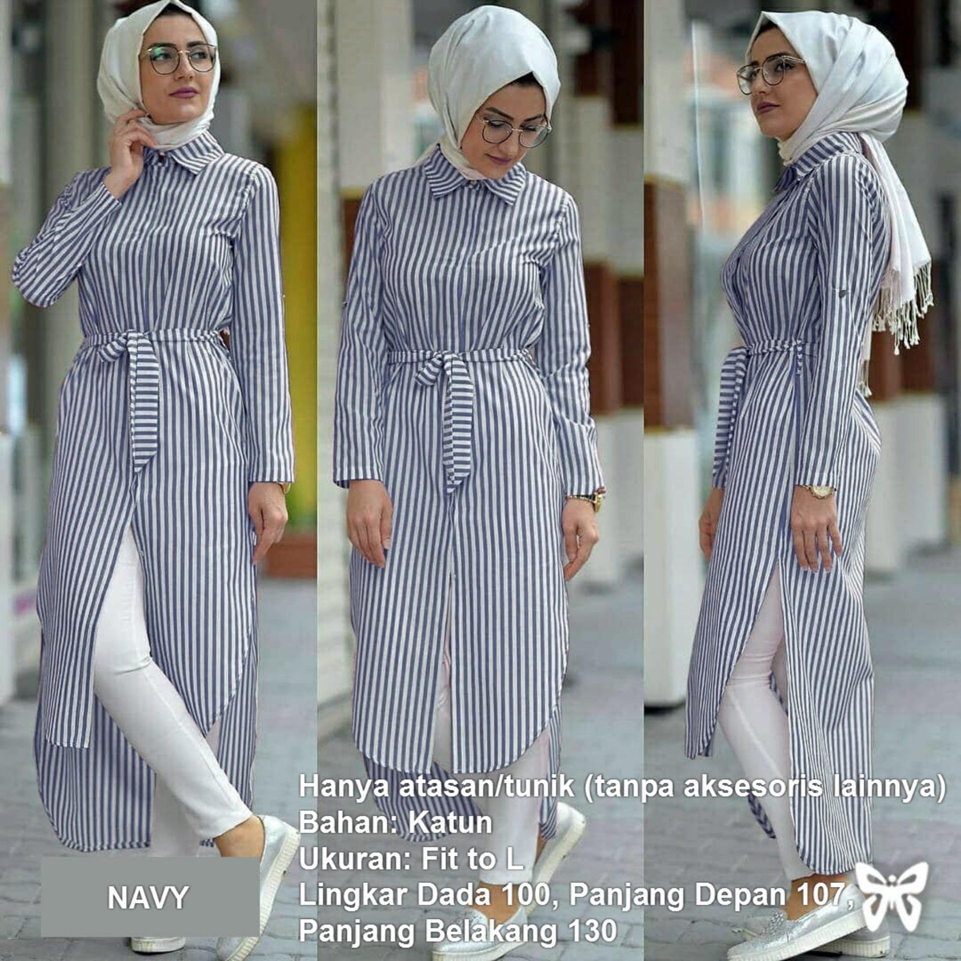 Kemeja Tunik Wanita Lengan Panjang Pinguin Busui Salur MSR279   Atasan  Muslimah   Baju Muslim   d42c6054ab
