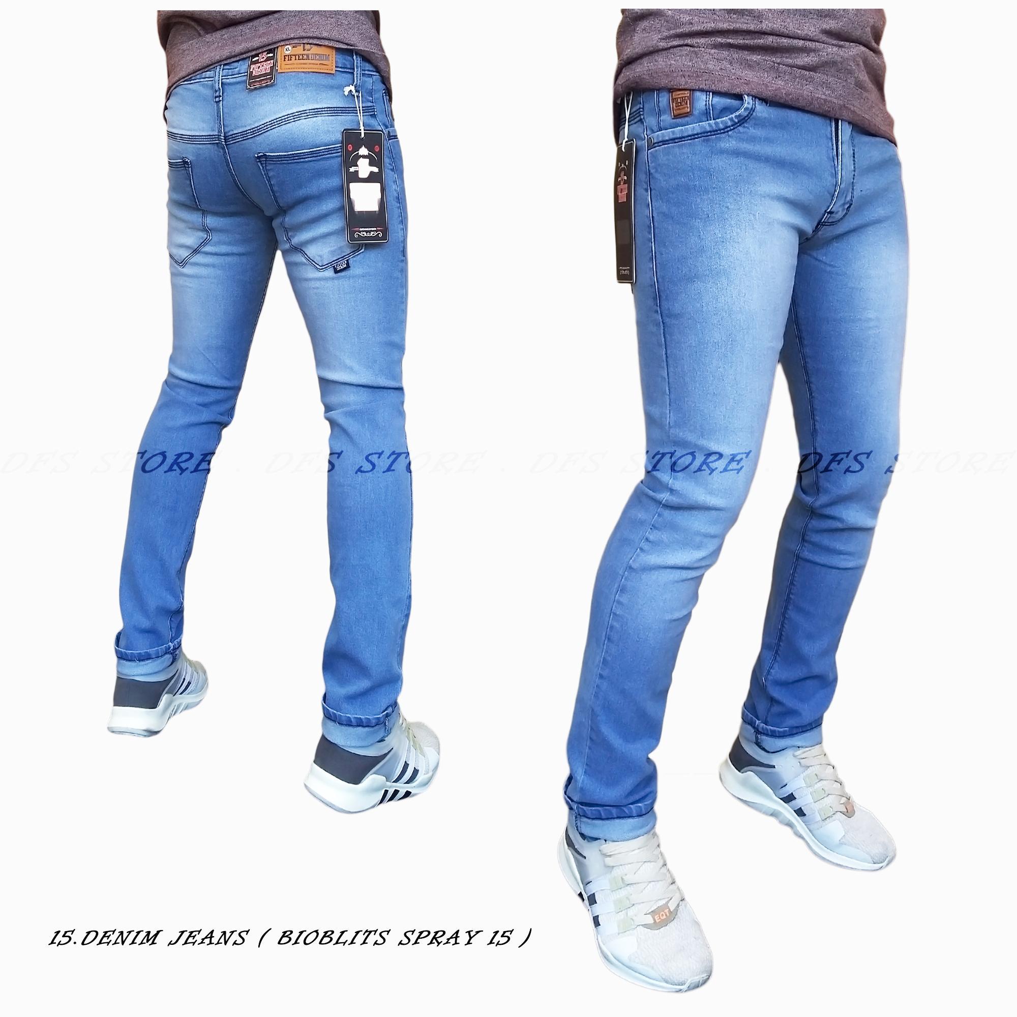 DFS-15DENIM Celana jeans denim skinny / slimfit / pensil pria – BIOBLITS SPRAY