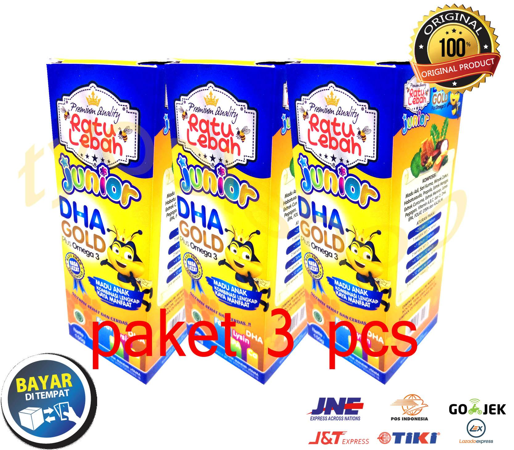 [ Paket 3 Pcs ] Madu Anak Ratu Lebah Junior Dha Gold Plus Omega 3 - 150gr By Tyoolshop.