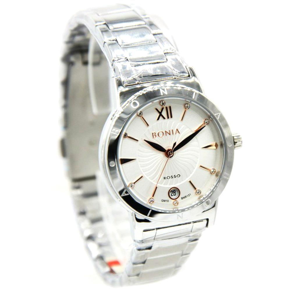 Bonia - Jam Tangan Wanita - Silver-Putih - Stainless Steel -