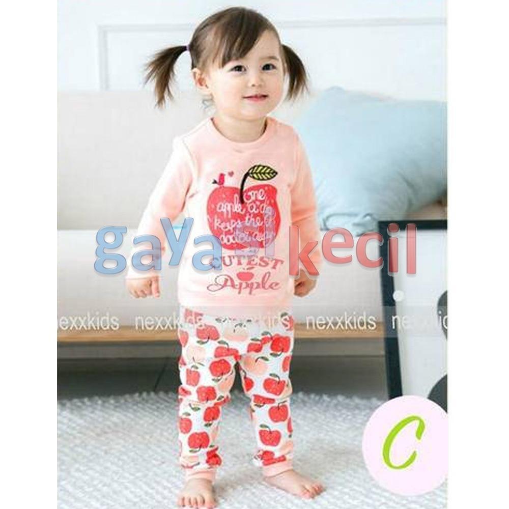 Gaya Si Kecil Piyama Anak Bayi Cewek Perempuan Cutest Apple Pink size 6BLN-3TH