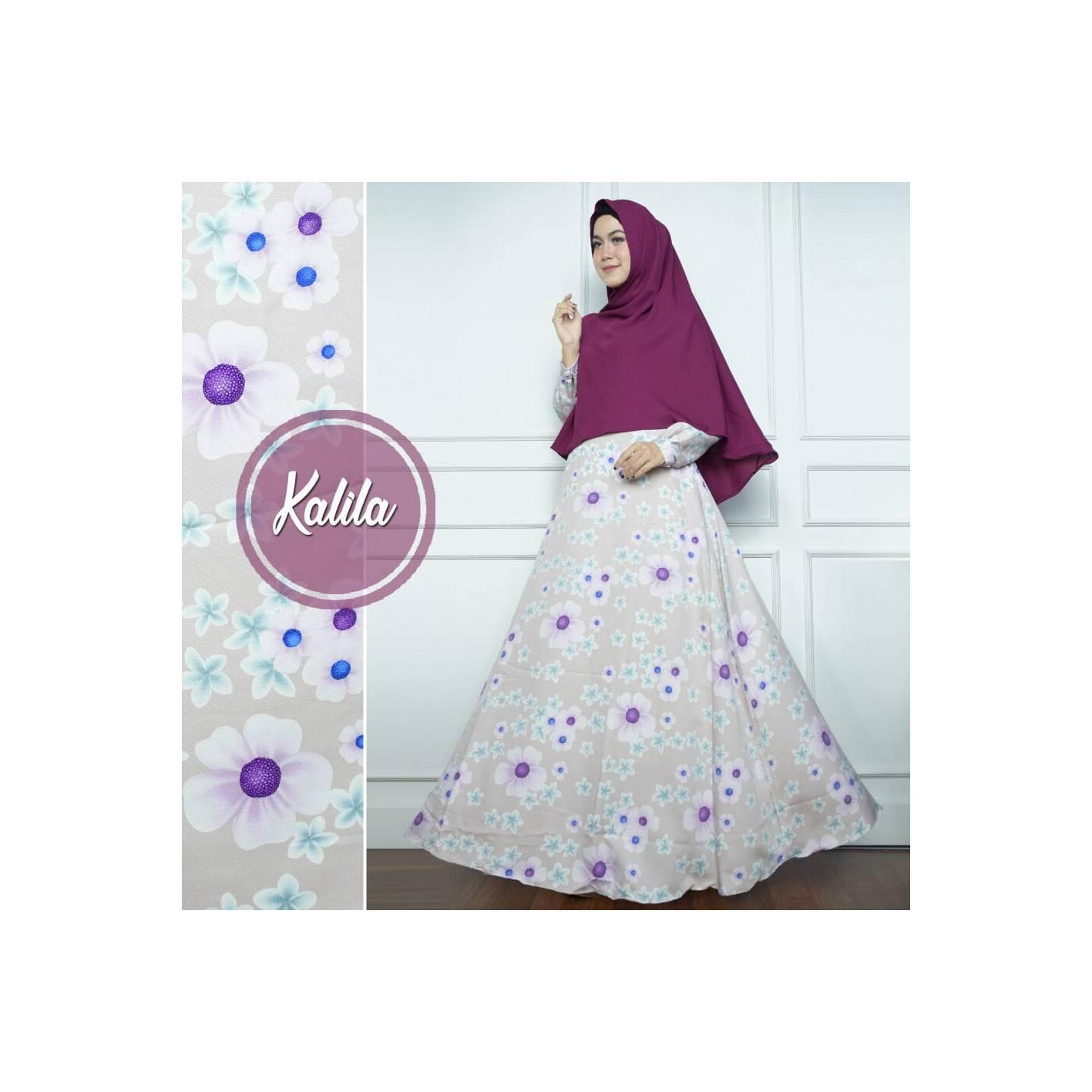 PURPLE Set Gamis Syari Monalisa Kalila Dress Baju Busana Muslimah