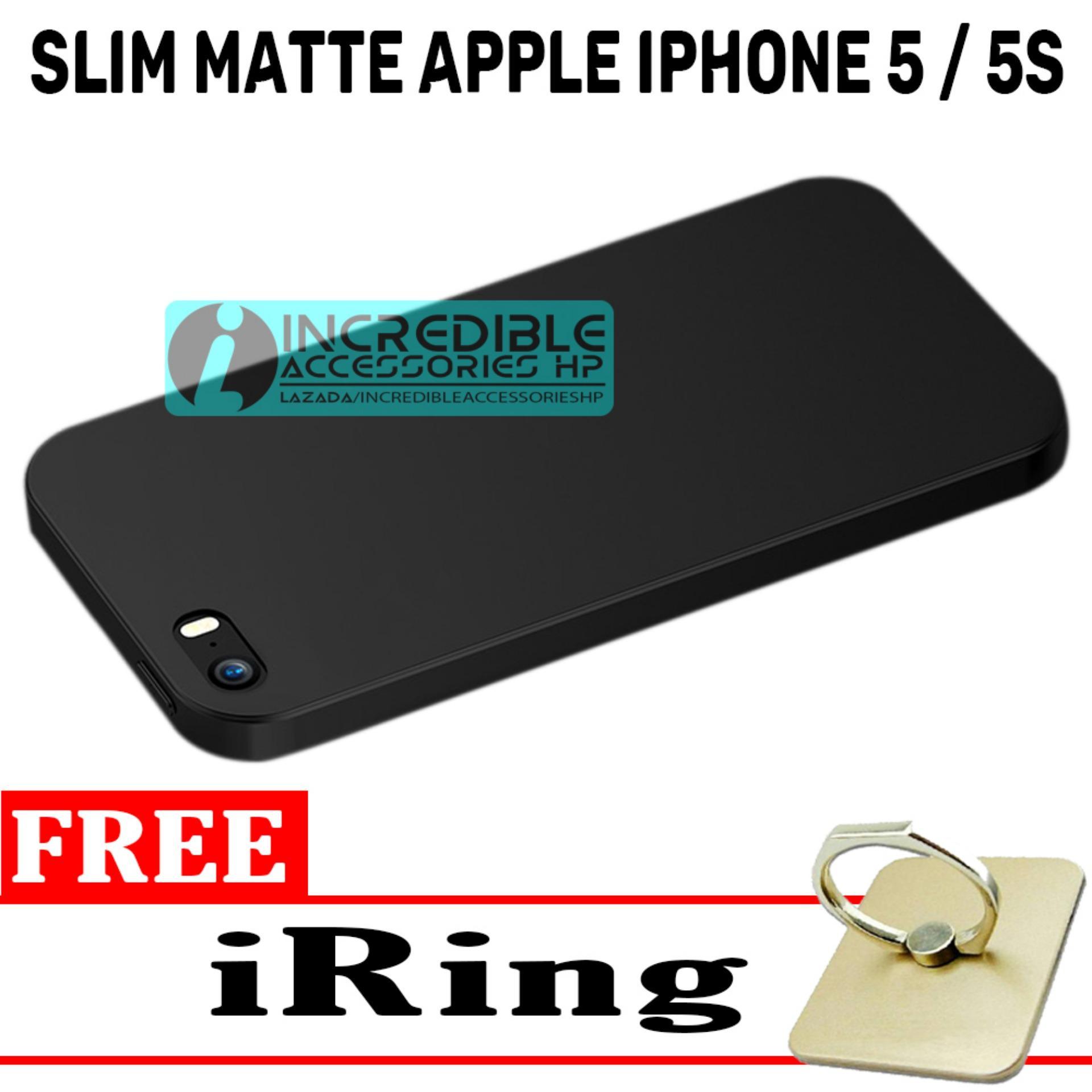 Anti Fingerprint Ultraslim Hybrid Case Baby Soft Babby Skin Softase Silicon Matte  for Apple iPhone 5 / 5s - Black + Free iRing