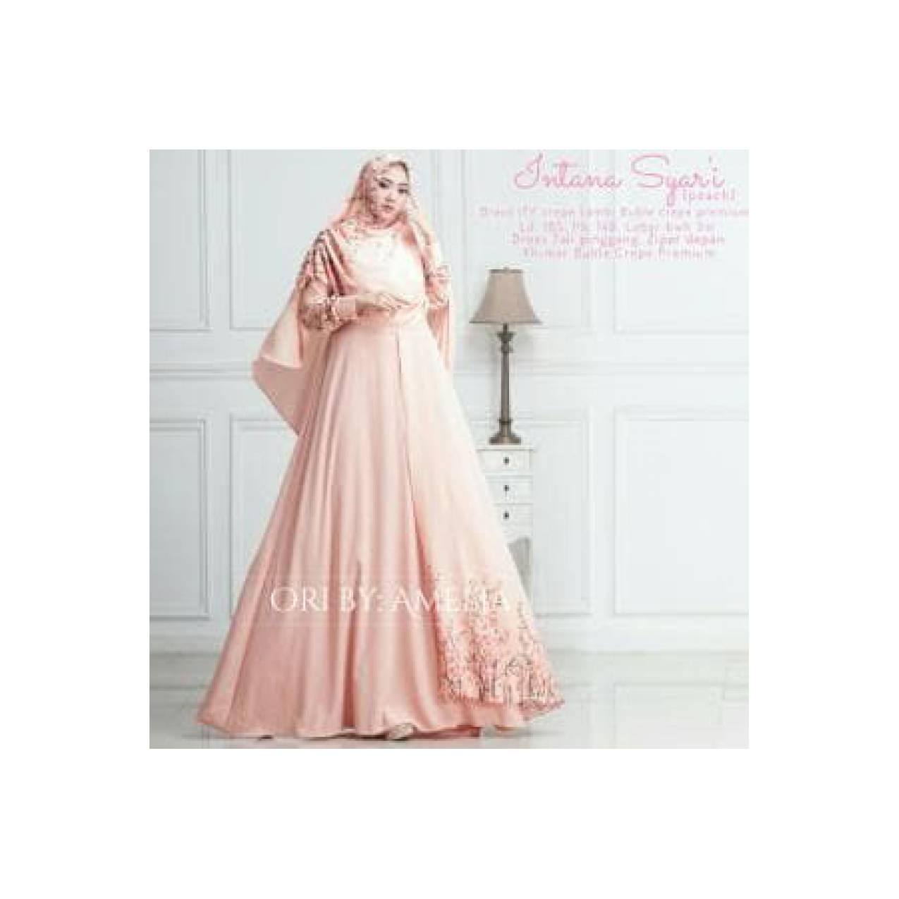 Gamis Syari Modern Setelan Baju Pesta Wanita Muslim Mewah INT Terlaris