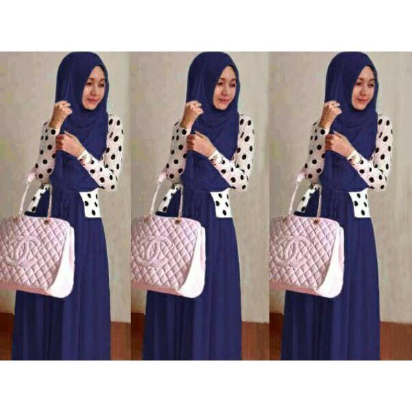Promo Hari Ini Shereen Set Navy Baju Muslim Remaja Wanita Gamis Terbaru Shiren Set Navy Untuk