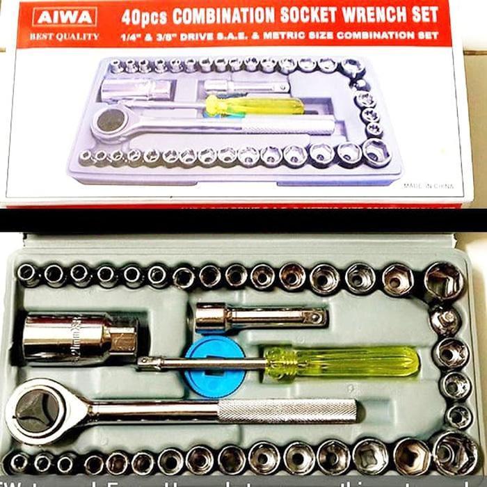 Tool Kit 40 in 1 Kunci Sock / Pas / SHOCK / Sok Obeng Alat Bengkel Set