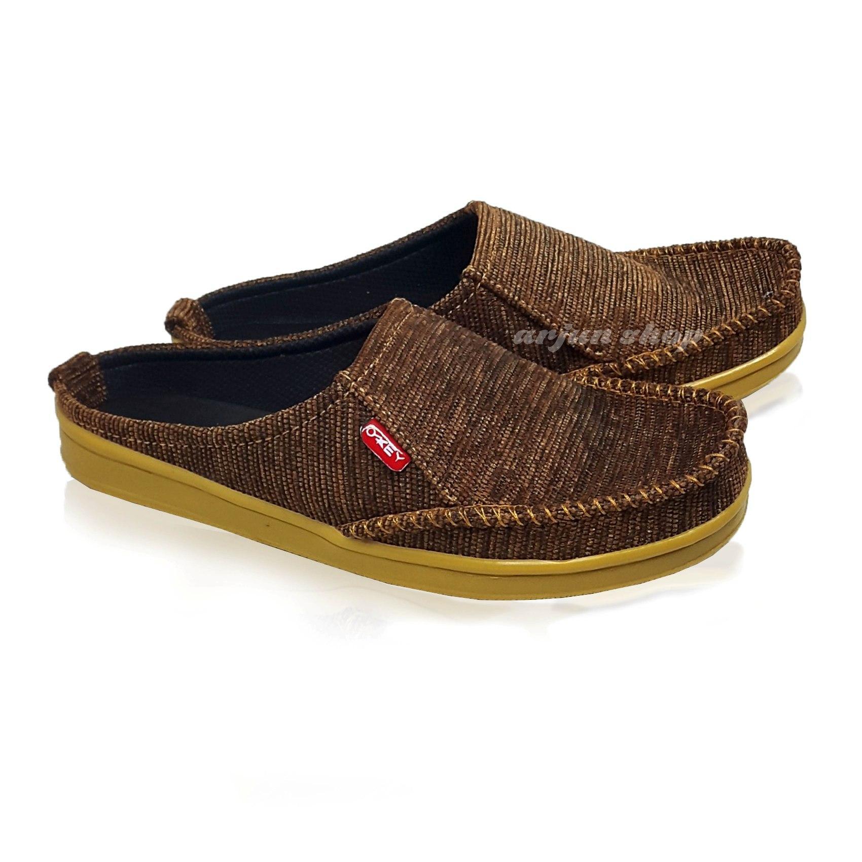 Sandal Selop Pria Cowok Karet Bagus Arjun Okay Sepatu Murah Bagor Hitam Cokelat Abu
