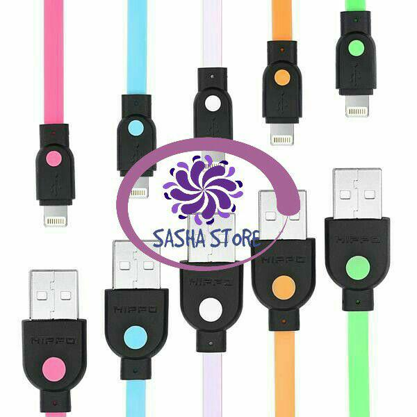 SS Kabel Data Hippo Caby 2 Iphone 5 5s 6 6s 6+ 6s+ 7 8 100 cm / Kabel Charger - Random Colour