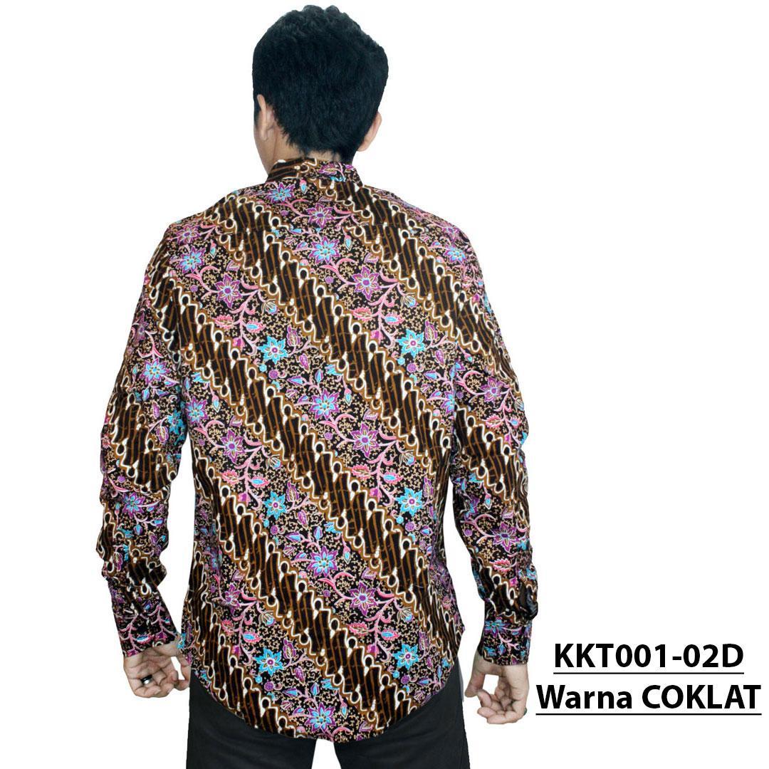 Kemeja Batik Pria Lengan Panjang - Slimfit - Katun Stretch (Elastis) - Design Abstract (KKT001-03) Batik Alhadi