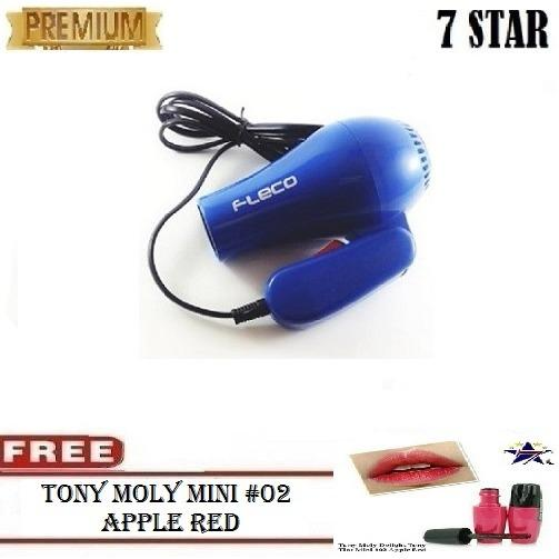 PREMIUM Fleco Hair Dryer 7STAR Mini Lipat Pengering Rambut + GRATIS Tony Moly #02 Apple Red Mini 1Pcs