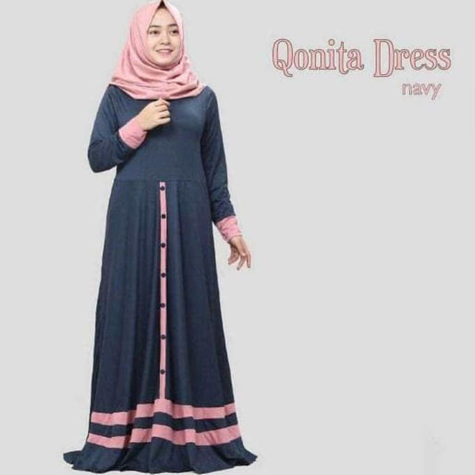 Terpopular Baju Atasan Muslim Murah /Gamis Murah Qonita Dres Baby Pink | Baju Lebaran Muslim Wanita
