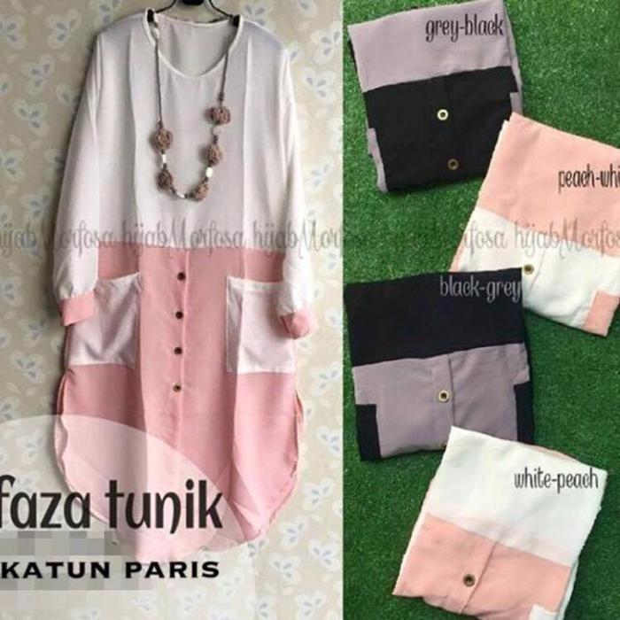 baju vintage / Tunik Faza / kemeja hitam / baju menyusui / hijab murah