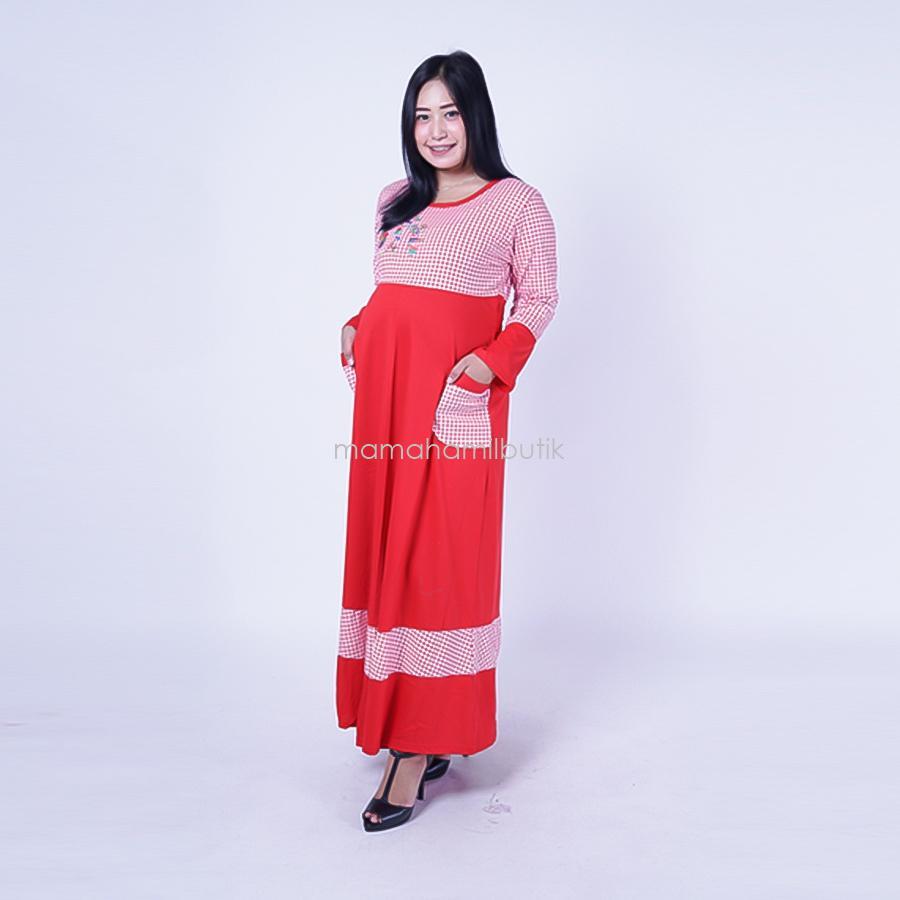 Ning Ayu Gamis Hamil Kaos Kotak Rose - GMS 250 / Baju Menyusui Lengan Panjang / Baju Atasan Menyusui / Baju Menyusui Muslimah / Baju Muslim Wanita untuk Ibu Menyusui/ Baju Hamil Untuk Kerja / Baju Hamil Untuk Kerja Modis