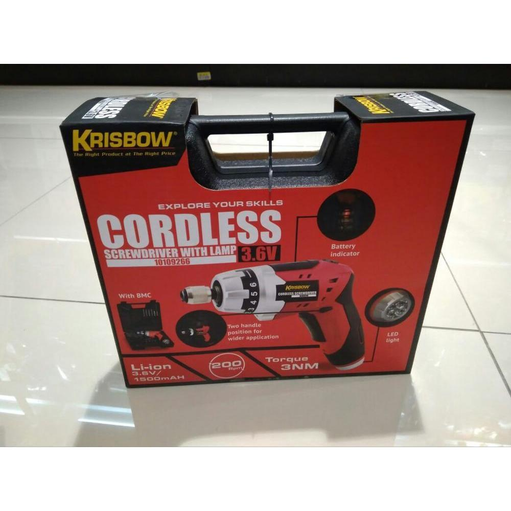 ORIGINAL MURAH Krisbow Cordless Bor Obeng Sok Screwdriver With Lamp 3.6 Volt