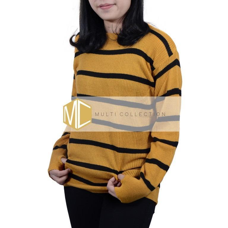 Sweater Roundhand Blaster Mustard-Hitam   Sweater Rajut   Sweater Korea   Baju Rajut Korea   Sweater Rajut Korea   Atasan Wanita   Baju Wanita