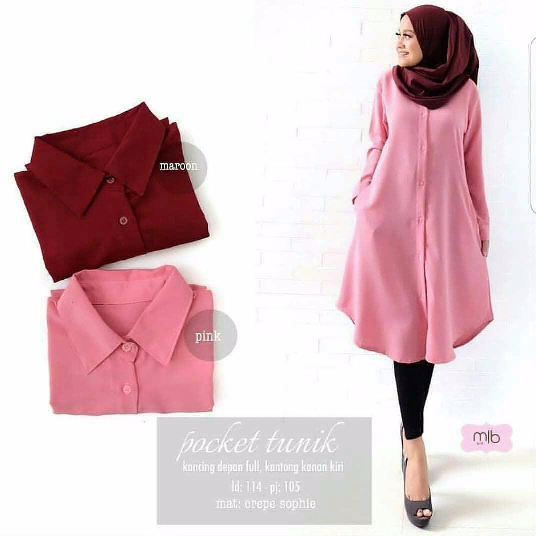 Tunik Pocket Tunic Wolfice Baju Wanita Muslim Panjang Wanita Modern Atasan Wanita Hijab Casual Pakaian Modis Baju Kerja Trendy Terbaru 2018