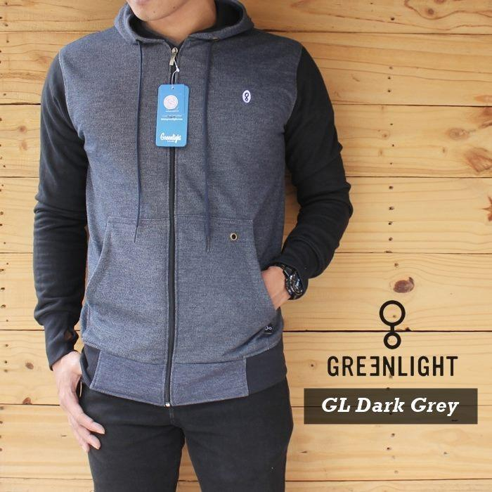 Jaket Hoodie Greenlight Dark Grey Black