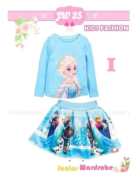 [ update terbaru ]  Baju Setelan Anak Perempuan JW 25 I Kaos Rok Scuba Elsa Frozen Biru