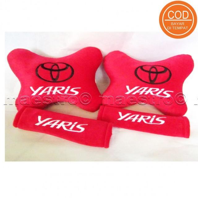 Aksesoris bantal leher jok mobil lucu unik Set 2in1 Toyota Yaris