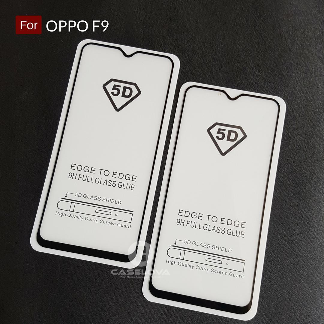 Caselova Premium Full Cover Tempered Glass 5D Round Curved Edge For Oppo F9 - Hitam
