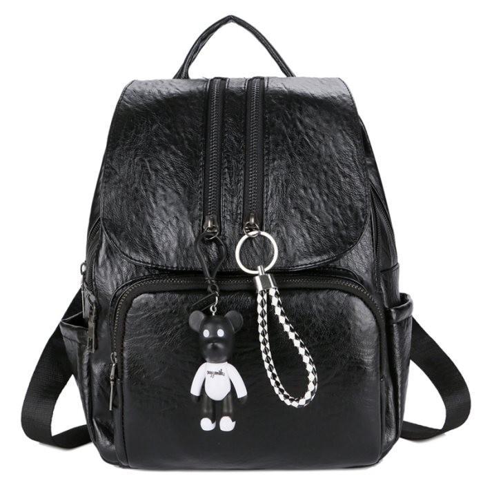 KGS Tas Ransel Backpack Wanita Impor Casual Zipper Bear Tassel - Hitam