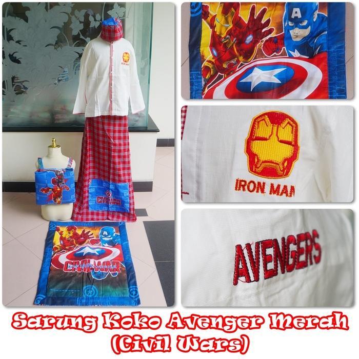 Baju Koko Avenger Merah XL / baju koko / baju koko anak / baju muslim / baju koko karakter / baju koko murah / baju koko keren / baju koko lucu / baju koko berkualitas