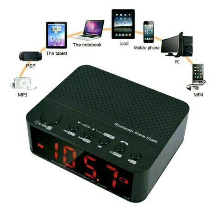 Referensi Speaker Aktif Speaker Desktop Unik Multifungsi With Bluetooth, Alarm, Jam - Hitam
