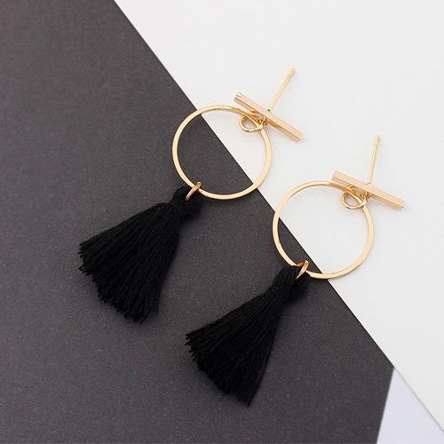 Lrc Anting Elegant Tassel Decorated Circular Ring Shape Earrings By Toko Aksesoris Online.